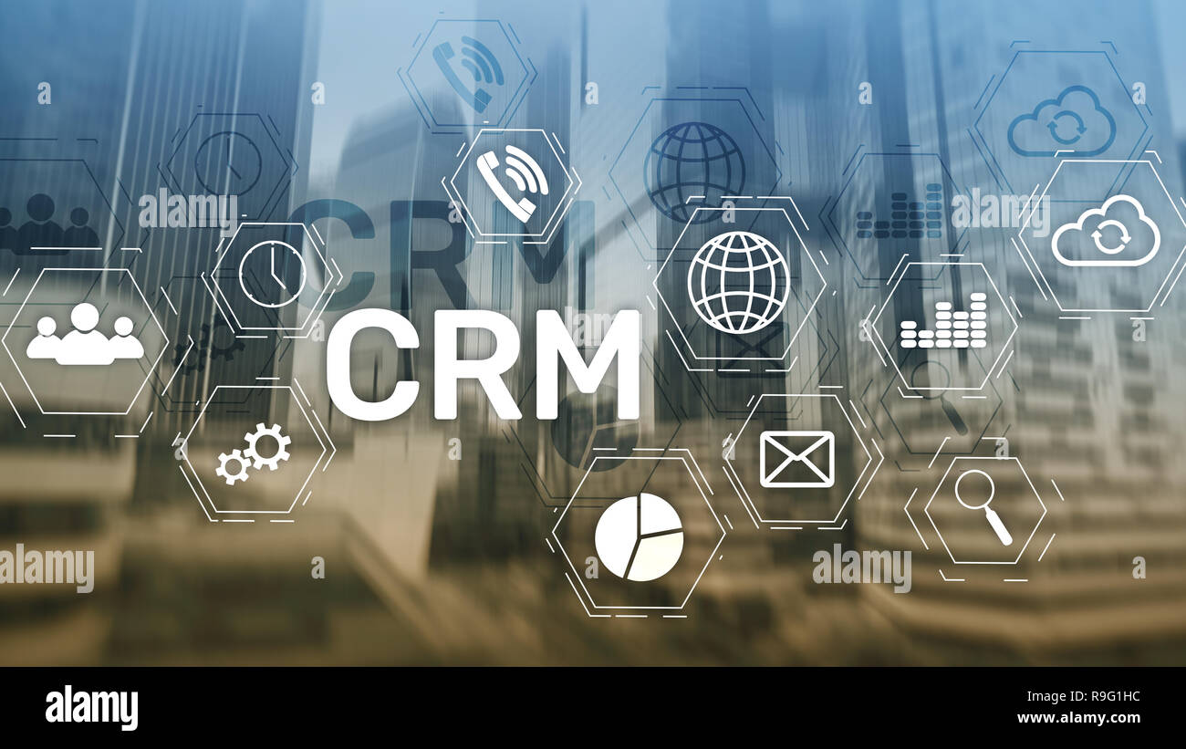 CRM, Customer relationship management system concept on abstract blurred background - Stock Image