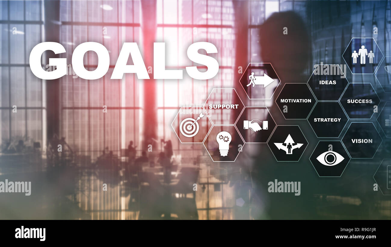 Target Goals Expectations Achievement Graphic Concept. Business development to success and growing growth. - Stock Image