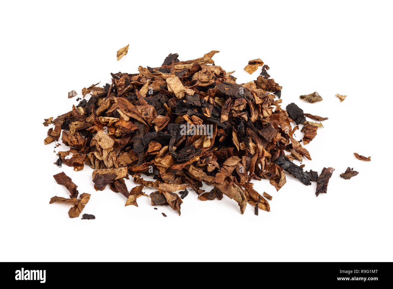 dried smoking tobacco isolated on white background. - Stock Image