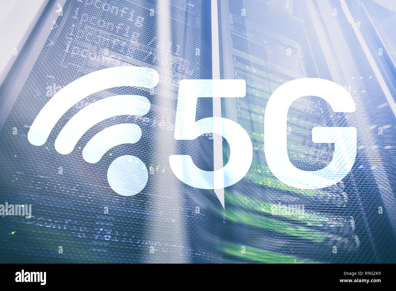 5G Fast Wireless internet connection Communication Mobile Technology concept. Stock Photo