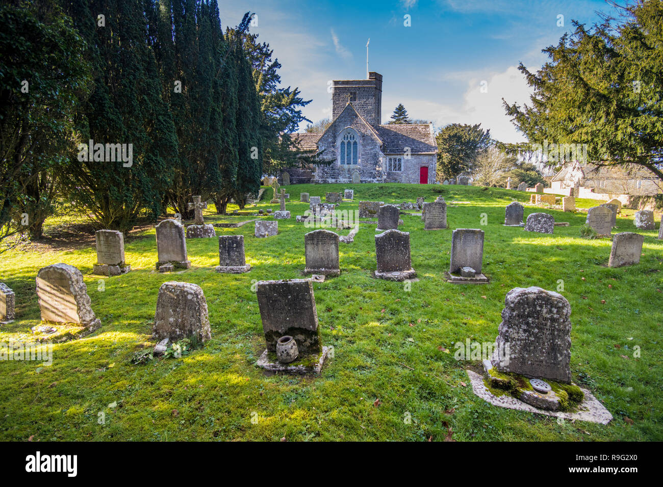 St Michael and All Angels Church, Steeple, near Warhead, Dorset, UK - Stock Image