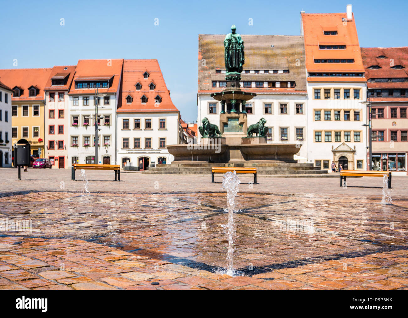 Upper Market in Freiberg - Stock Image