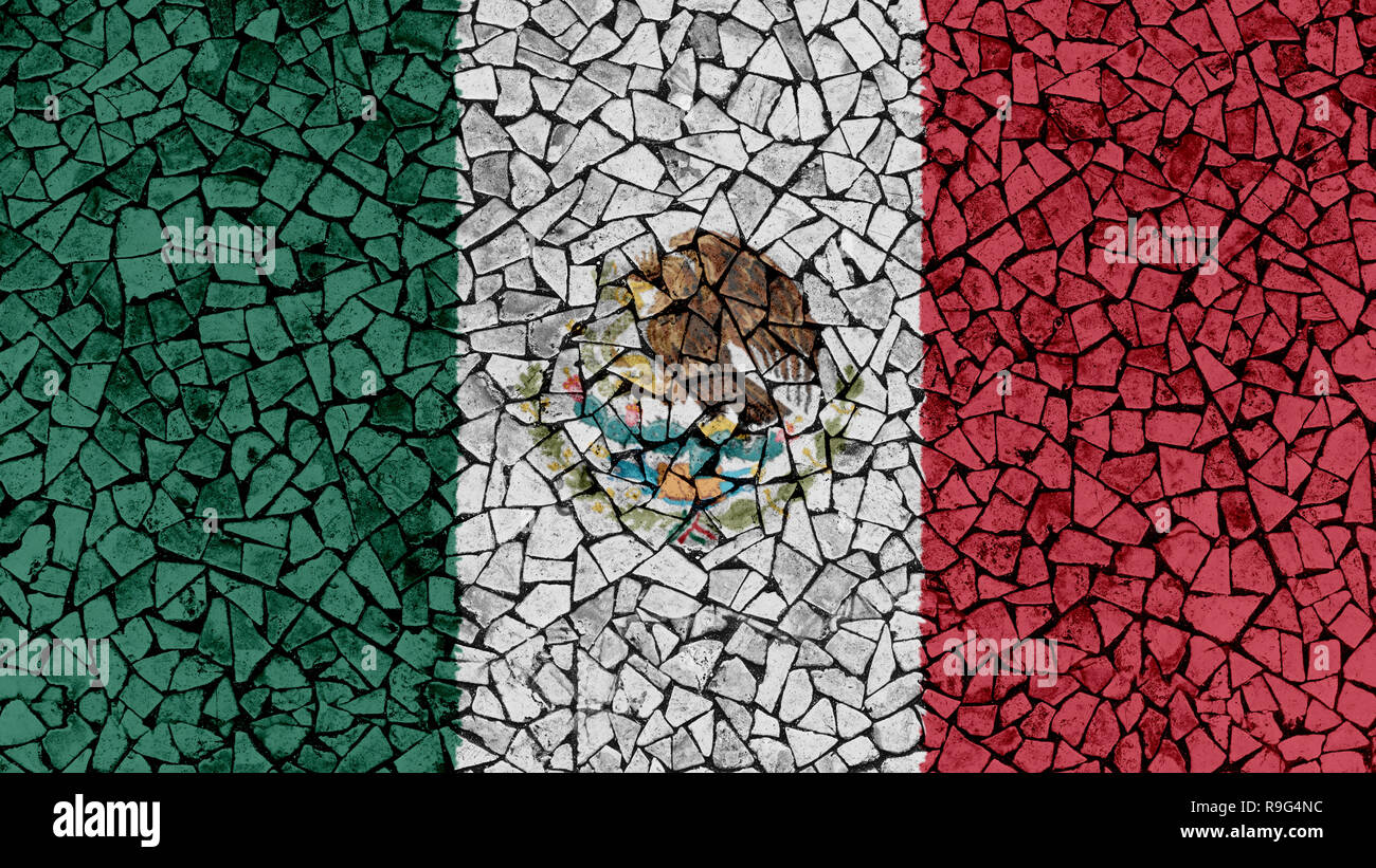Mosaic Tiles Painting of Mexico Flag, Background Texture - Stock Image