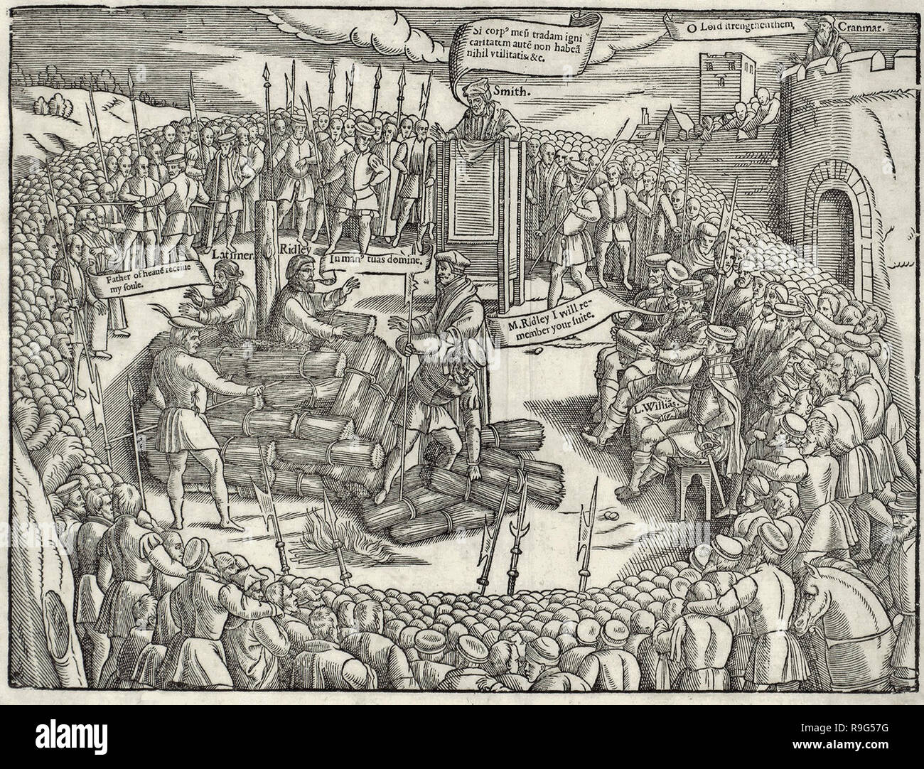 Hugh Latimer and Nicholas Ridley martyred by being burnt at the stake. - Stock Image
