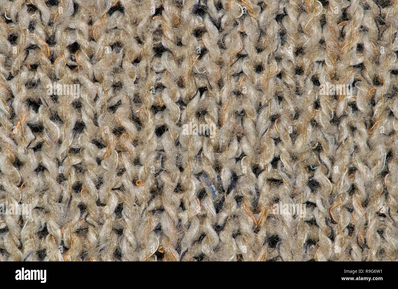 7a2b61ae4c7b Close-up swatch of coarse woolen knit texture from a tan-colored cardigan.