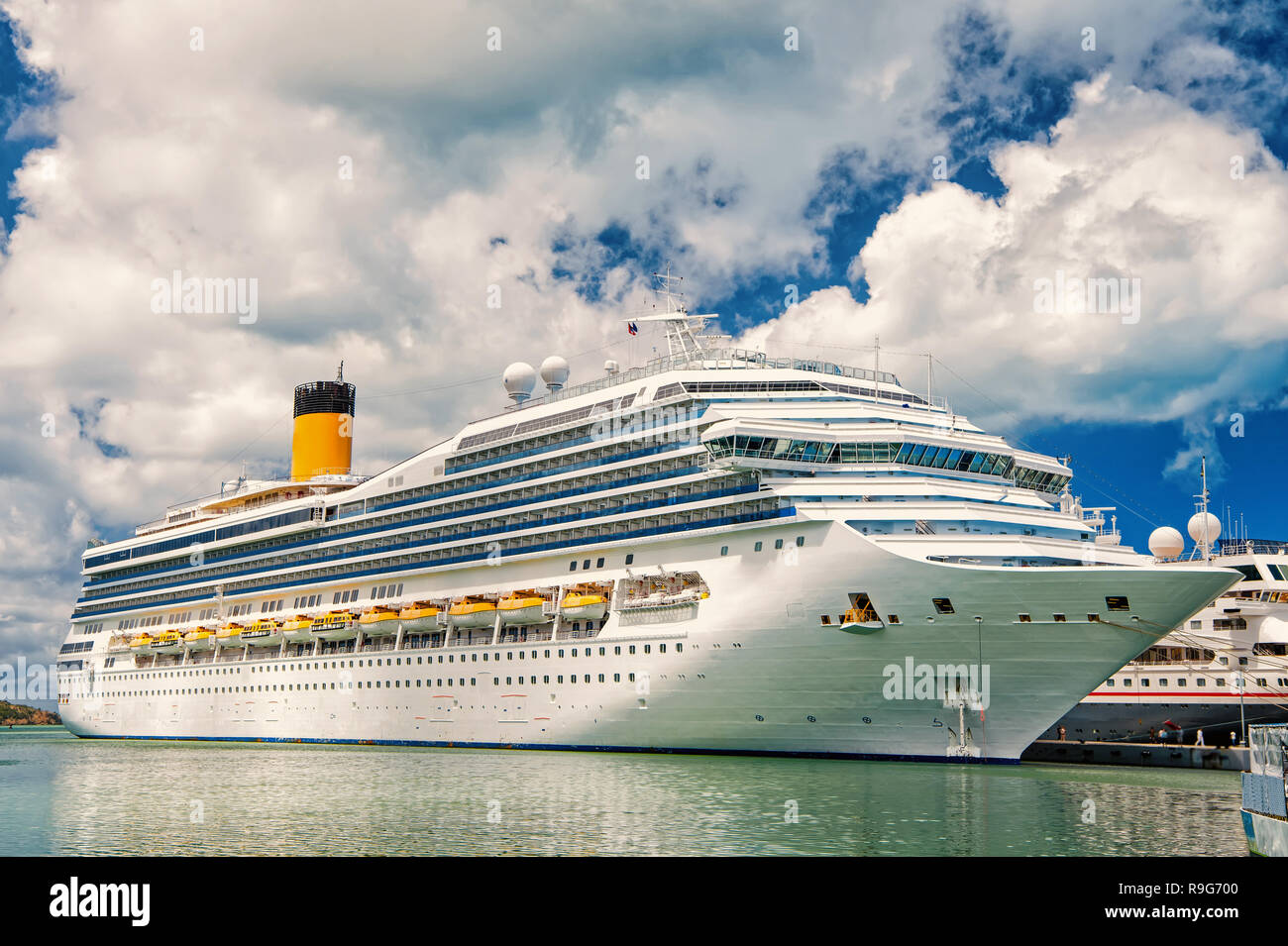 Cruise Ship Anchored in The Caribbean sea , st.Johns, Antigua. Cruise and travel concept - Stock Image