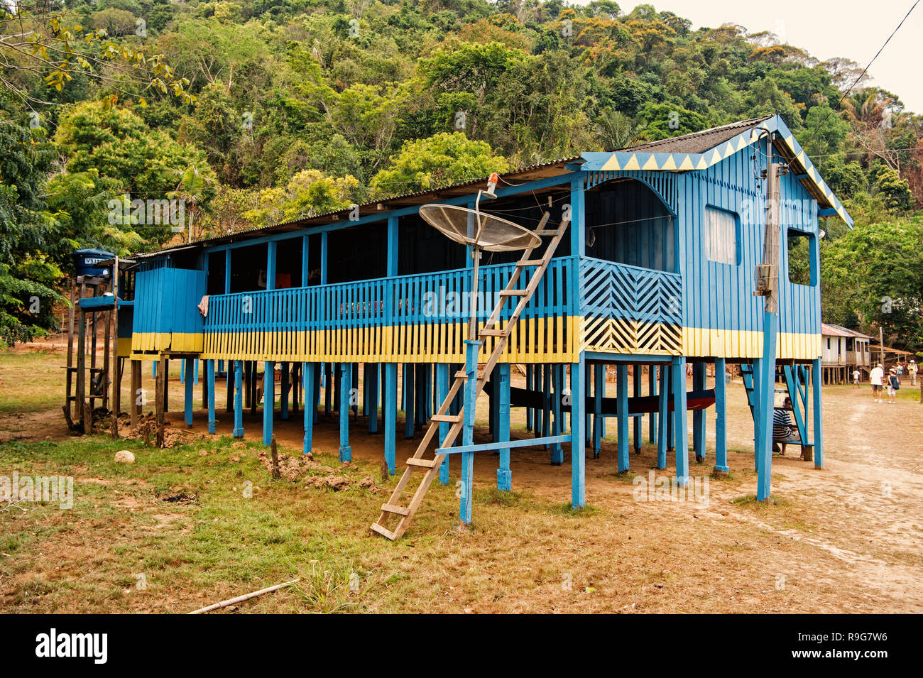 Boca de valeria, Brazil - December 03, 2015: hut on wooden piles in village in jungles on natural background. Poverty and dwelling concept. Stock Photo