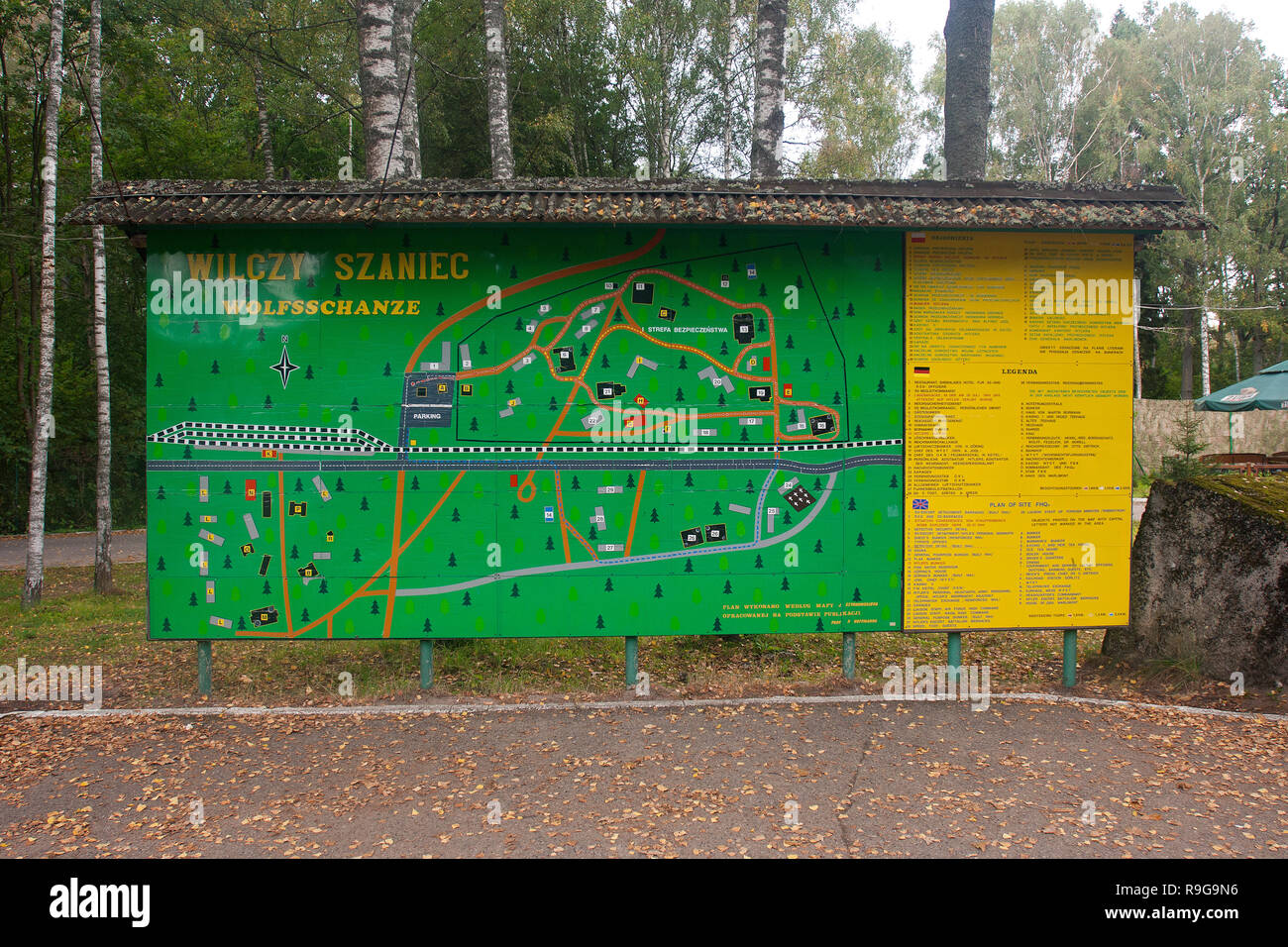 Position plan of Remains of Wolf's Lair (german: Wolfsschanze), Führer's headquarters of Adolf Hitler, Rastenburg, Masuria, Poland, Europe - Stock Image