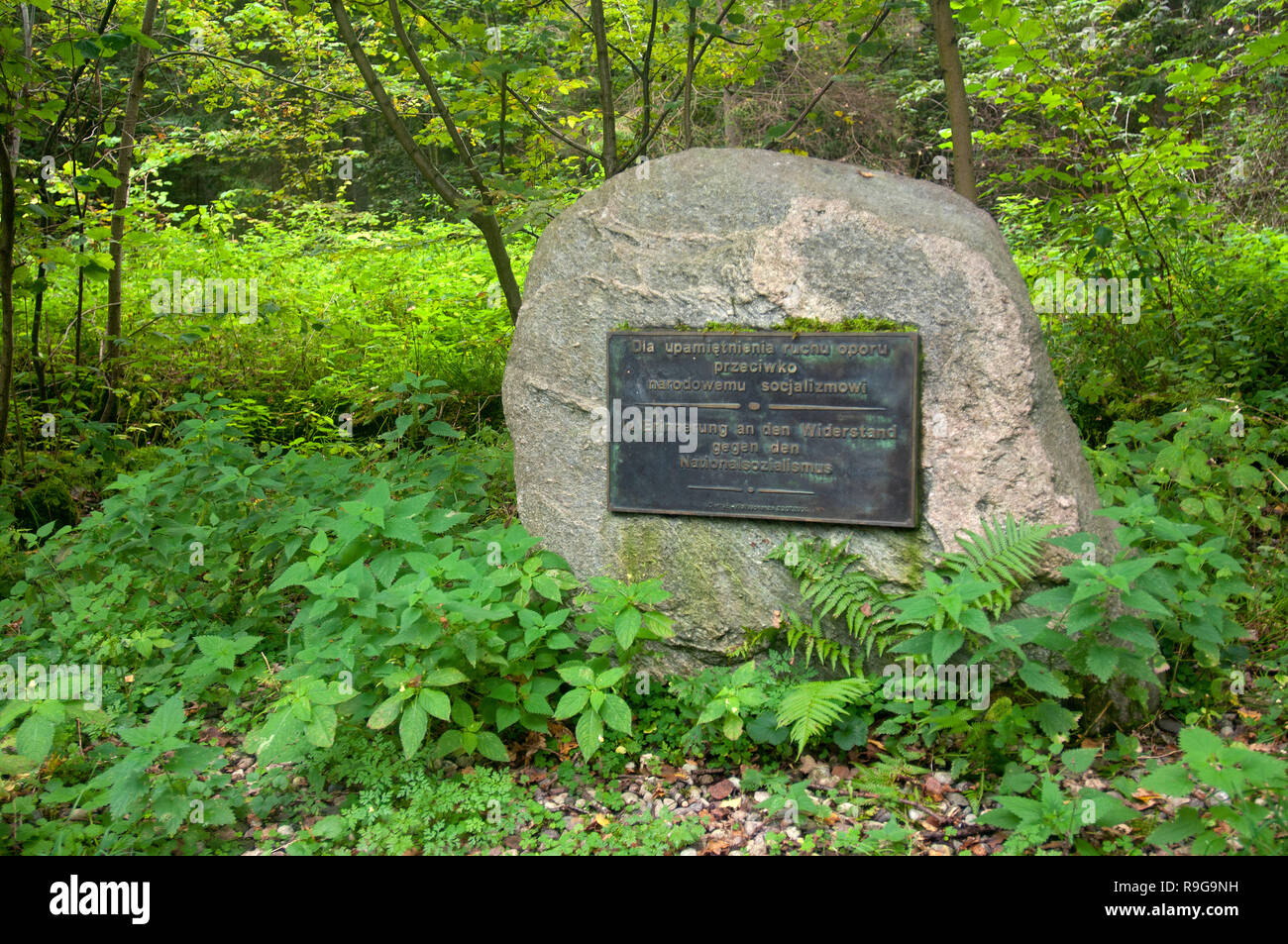 Memorial plaque in memory of resistance against the national socalism, Wolf's lair, Führer's headquarters, Adolf Hitler, Rastenburg, Masuria, Poland Stock Photo