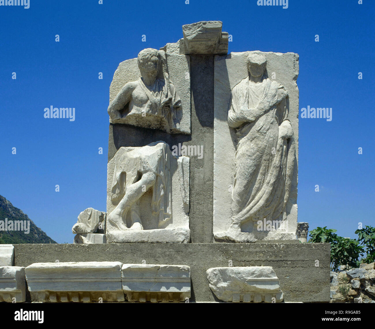 Turkey. Ephesus. The Memmius Monument. Erected in 1st century AD (Reign of Augustus) by Memmius, a proviment citizen of the city, son of Caius and grandson of the dictator Sulla of Rome. Anatolia. - Stock Image