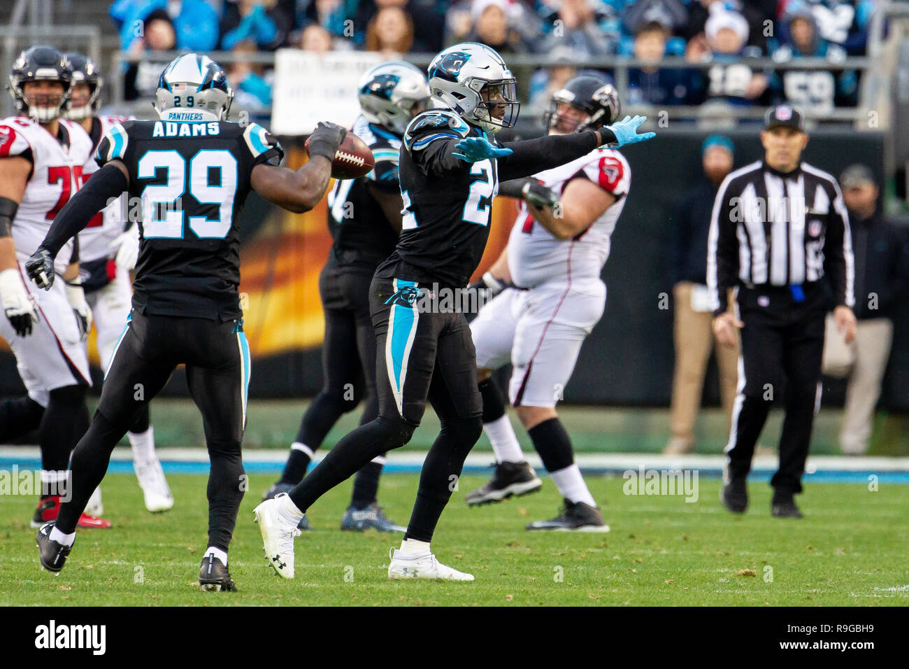 2bb4610f1aa Carolina Panthers cornerback James Bradberry (24) celebrates a third down  ...