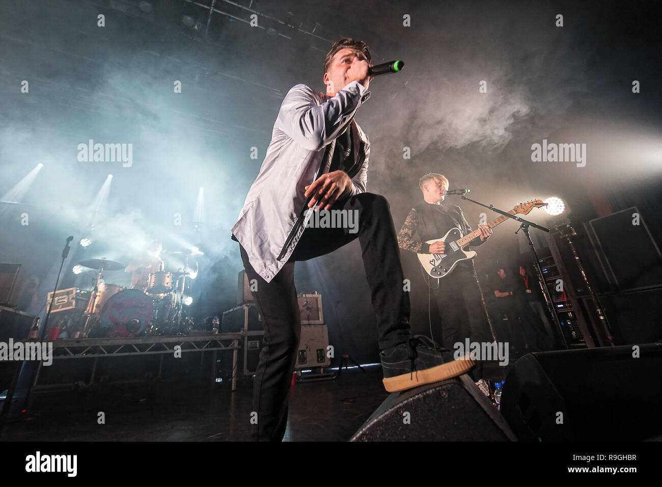 Motherwell, Scotland, UK. 23rd December, 2018. Motherwell band The LaFontaines tear apart the Civic Centre Concert Hall on their homecoming gig. Credit: Stuart Westwood/Alamy Live News Stock Photo