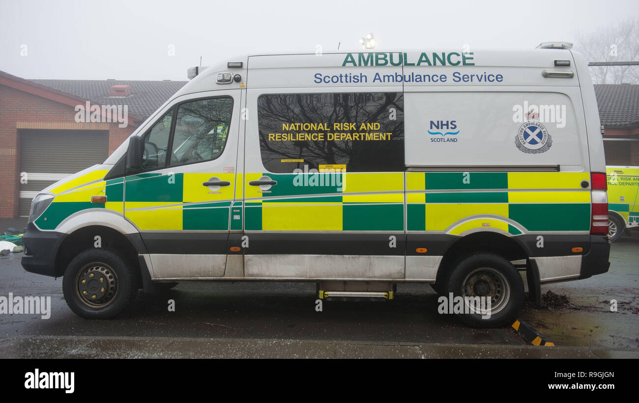 Johnstone, Glasgow, UK. 24th December 2018.  Scottish Health Minister - Jeane Freeman visits the Scottish Ambulance Service's Special Operations Response Team (SORT) where she  meets some of the paramedics who provide specialist ambulance care to patients during major incidents and in hazardous environments and being shown the specific equipment (ranging from bio hazards and ballistic suits, water rescue kit to ambulance specific kits to the actual specialist vehicles), used.  Credit: Colin Fisher/Alamy Live News - Stock Image