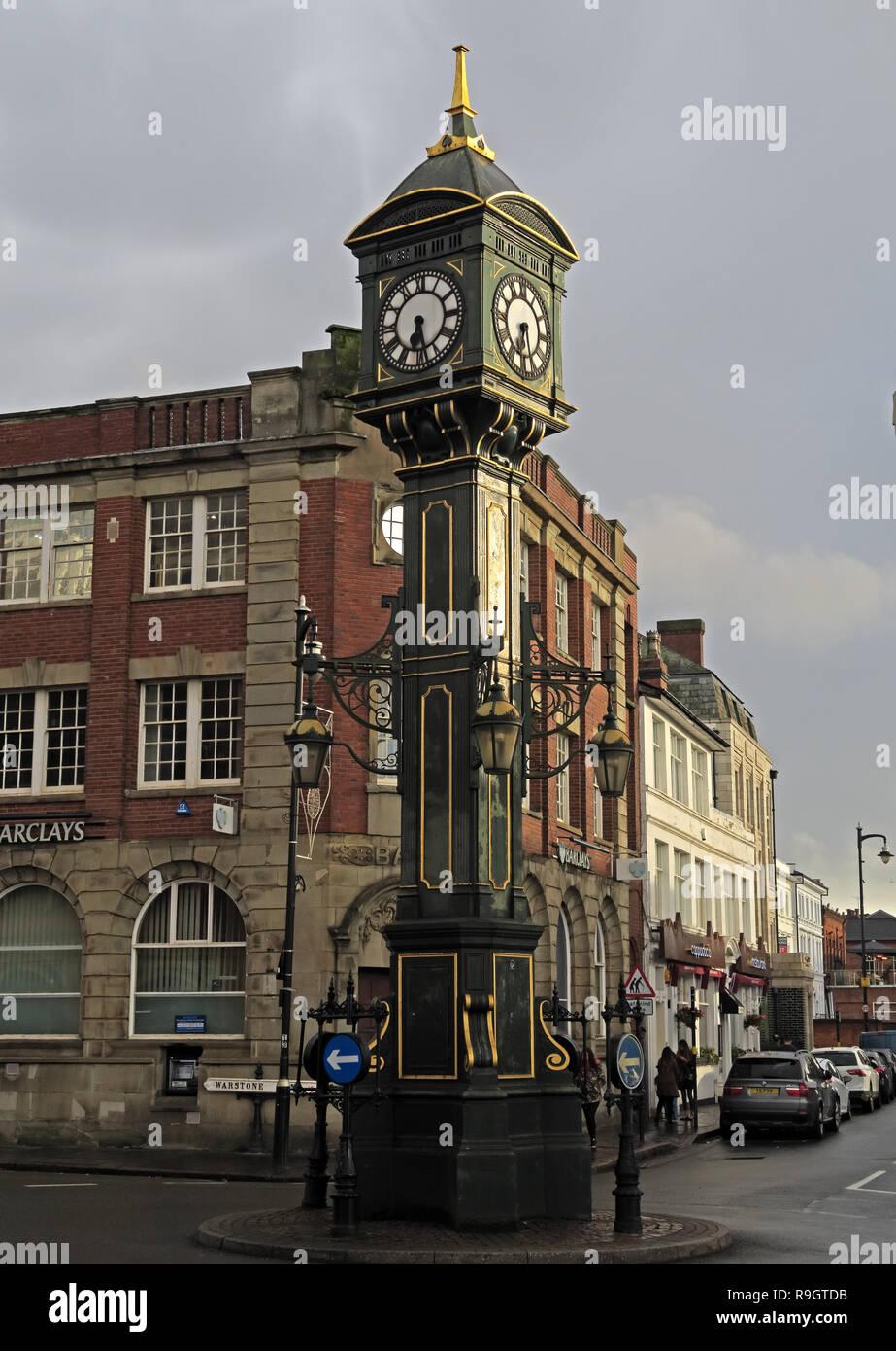 Chamberlain Clock, Edwardian, cast-iron, clock tower, Jewellery Quarter, Birmingham, West Midlands, England, UK, - Stock Image