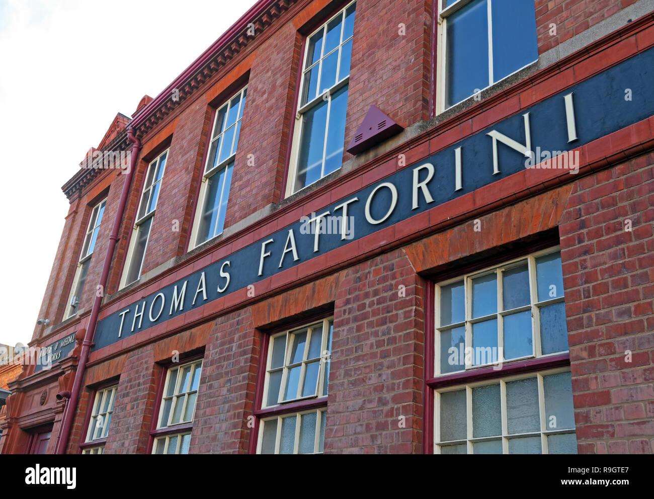 Thomas Fattorini factory, Birmingham Jewellery quarter, Regent St, Birmingham, English Midlands, UK,  B1 3HQ - Stock Image