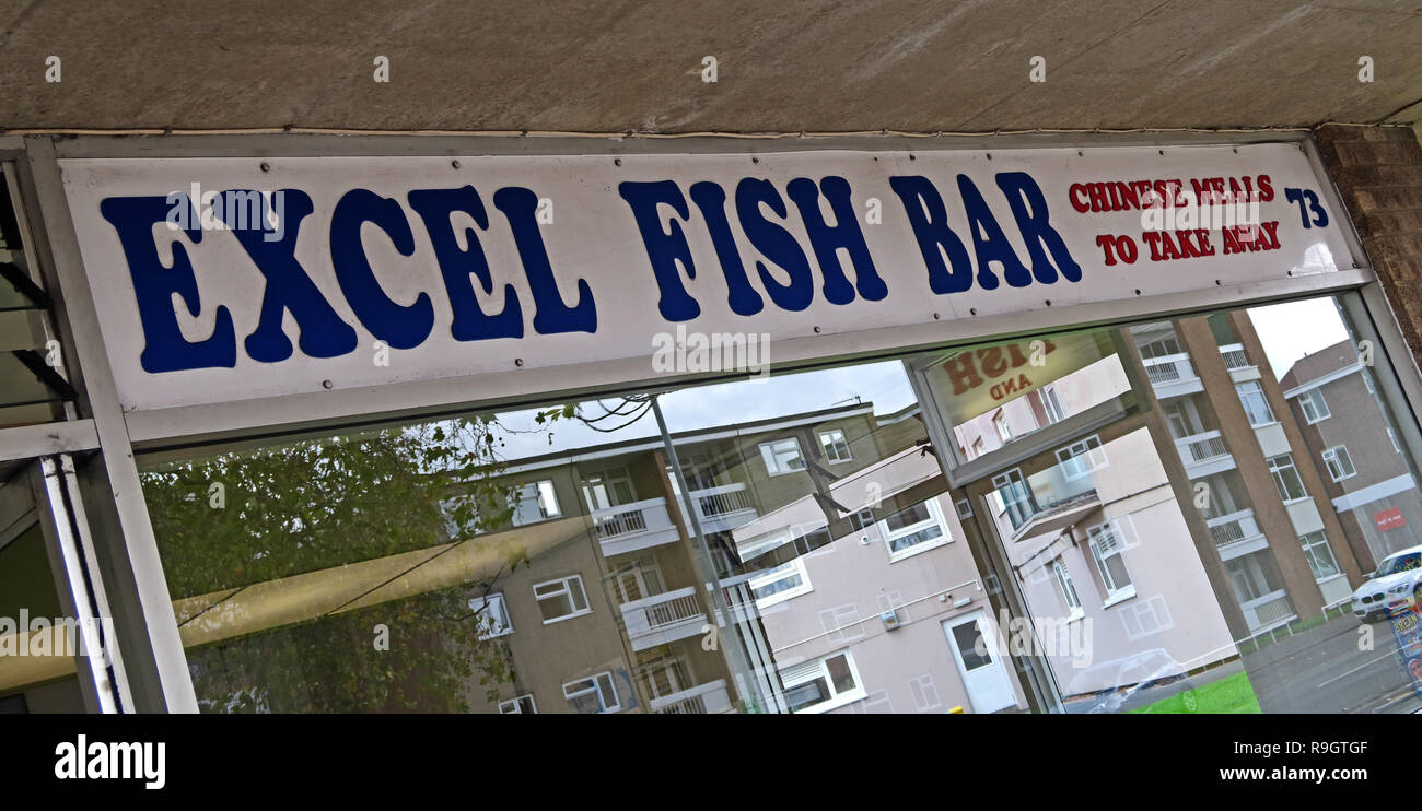 Excel Fish Bar, 73 West St, Bridgwater, Somerset, South West England, UK, TA6 3RH - Spreadsheet Supper bar and fast food - Stock Image