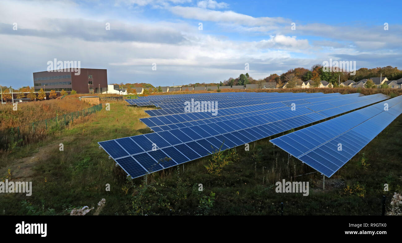 Edinburgh College Eskbank Solar Meadow, Photo Voltaic PV installation, Dalhousie Rd, Dalkeith, Edinburgh, Midlothian, Scotland,UK, EH22 3FR - Stock Image