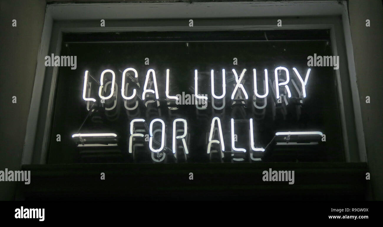 Black White Local Luxury For All sign,Edinburgh - Stock Image