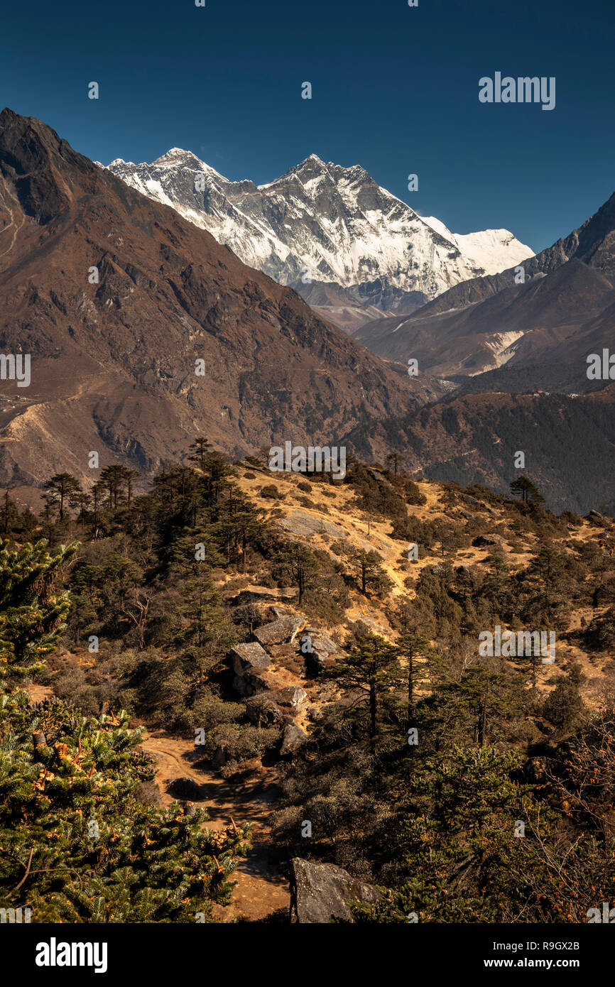Nepal, Everest Base Camp Trek, view of Mount Everest and Lhotse from Everest View Hotel - Stock Image