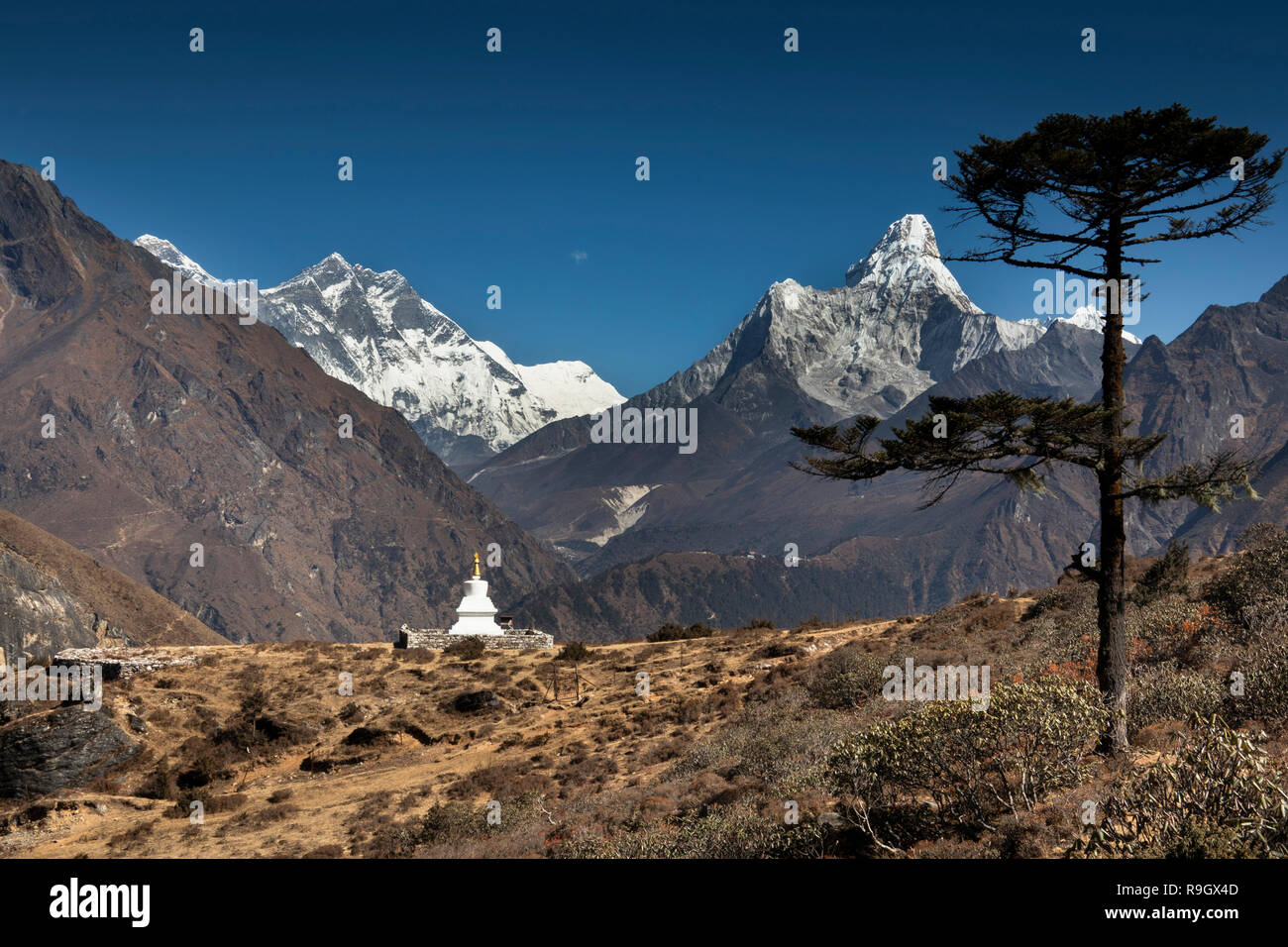 Nepal, Everest Base Camp Trek, Khumjung, new high altitude chorten with views of Himalayan mountains - Stock Image