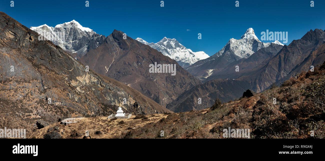 Nepal, Everest Base Camp Trek, Khumjung, new chorten with views of Himalayan mountains, panoramic - Stock Image