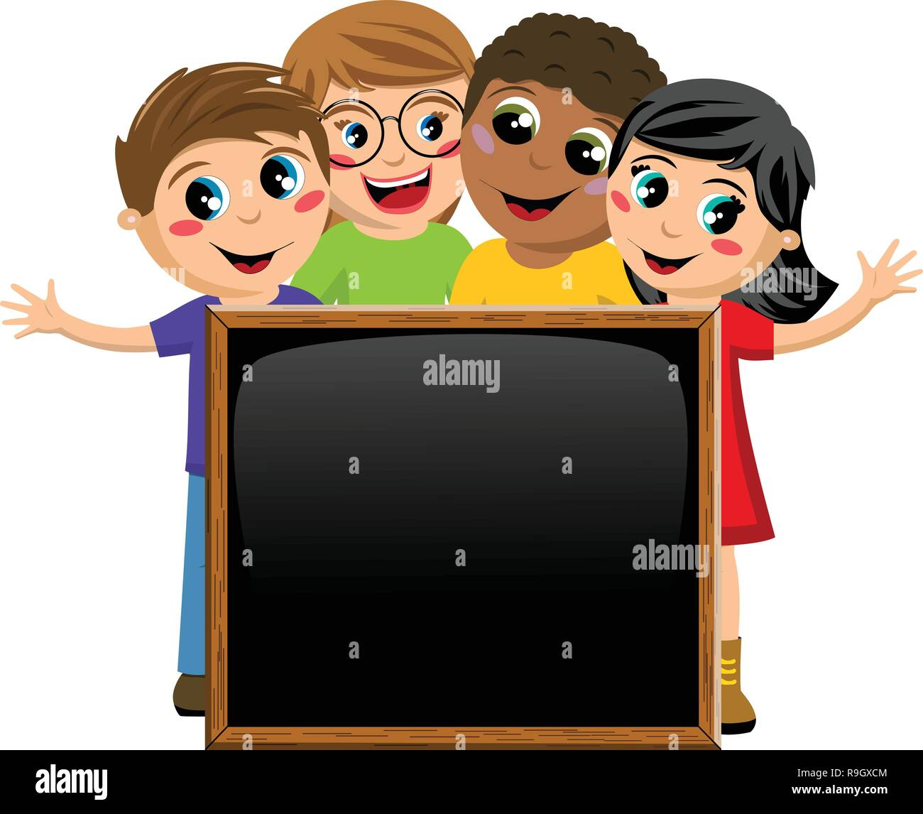 multicultural kids or children behind blank blackboard or chalkboard isolated on white - Stock Vector