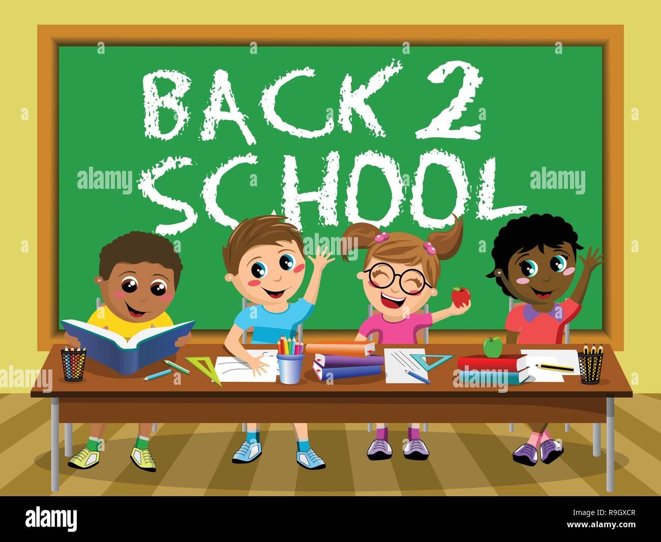 Back to School on blackboard Happy kids children classroom - Stock Vector