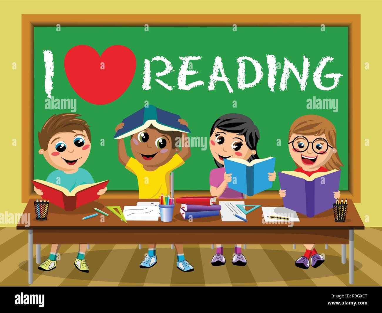 I love reading on blackboard Happy kids children classroom - Stock Vector