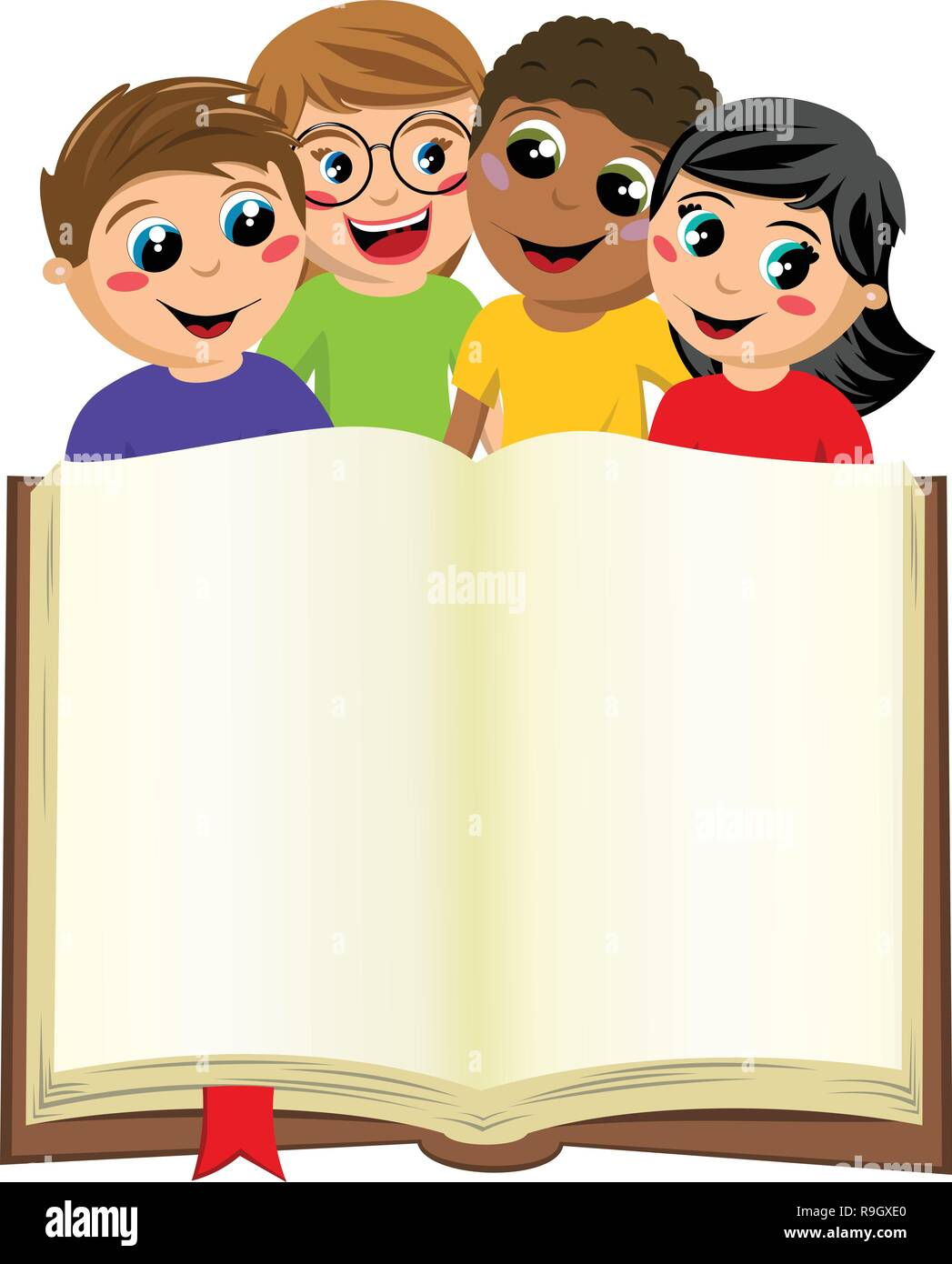 multicultural kids or children behind blank open big book isolated on white - Stock Vector