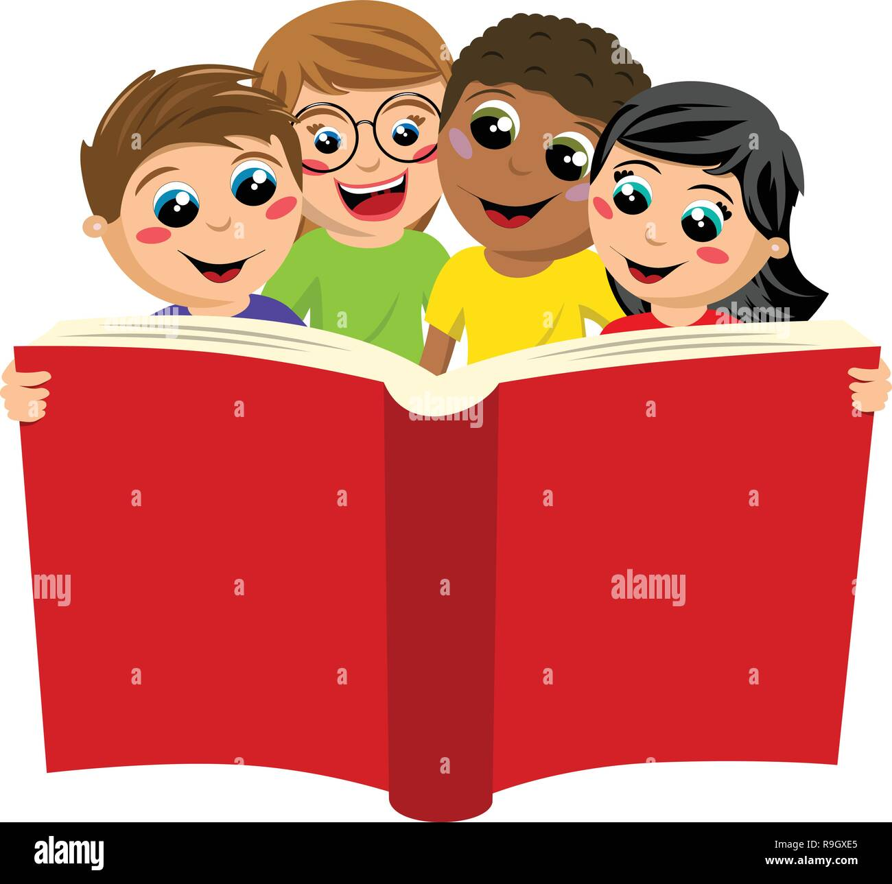 multicultural kids or children reading big book isolated on white - Stock Vector