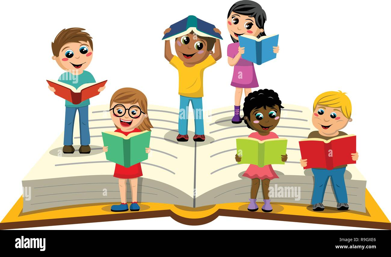 Multiracial Kids or children reading on big open book isolated - Stock Vector