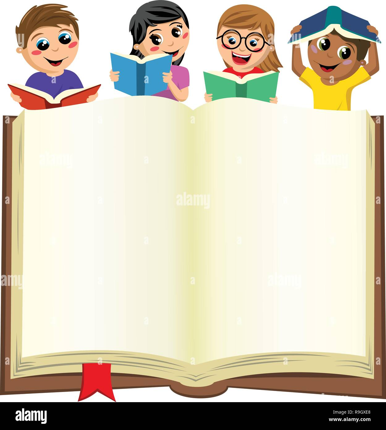 multicultural kids or children playing and reading behind blank open big book isolated on white - Stock Vector