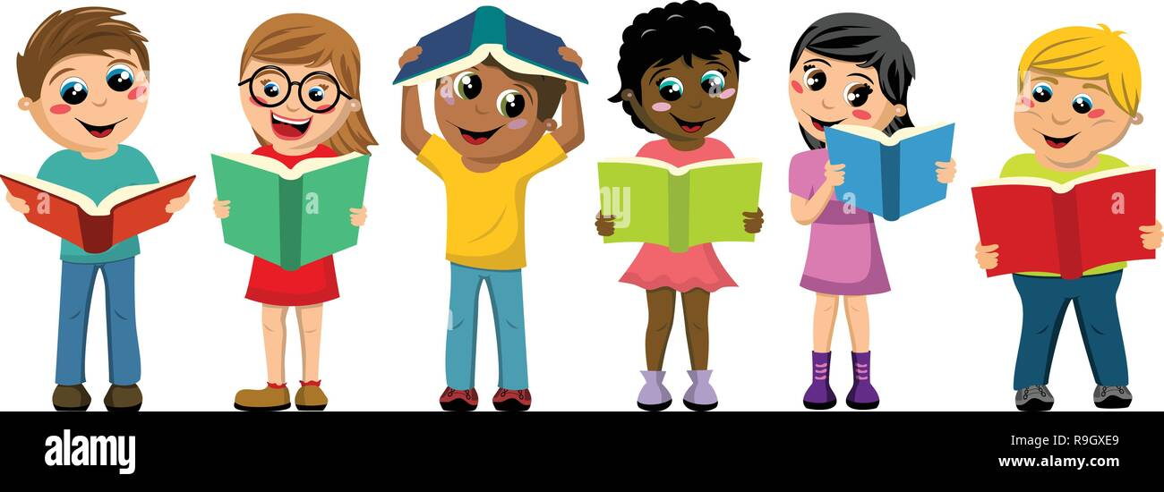 multicultural kids or children playing and reading books isolated on white - Stock Vector