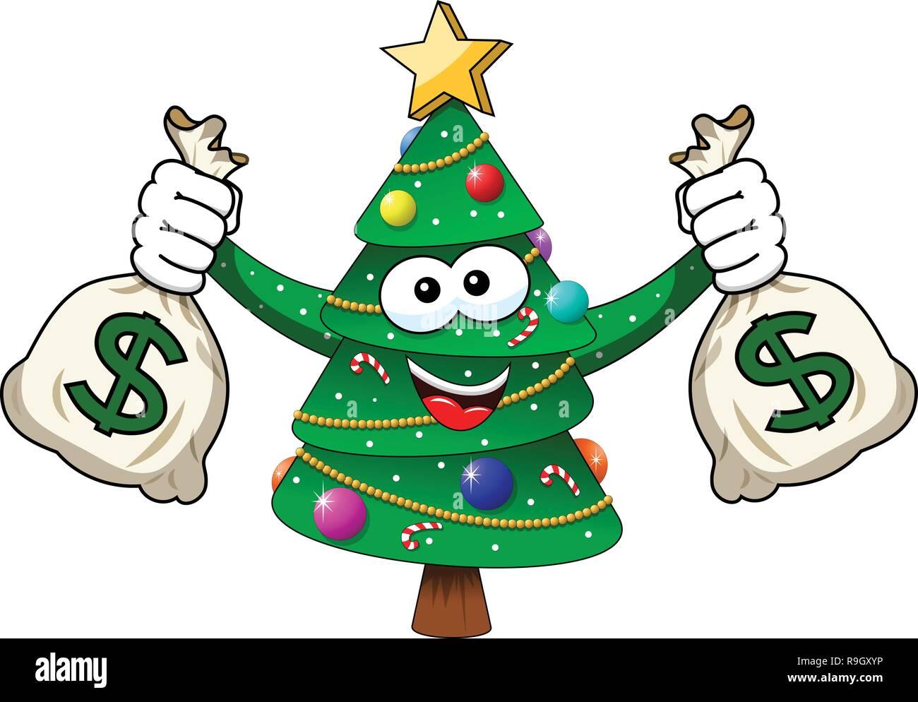 xmas christmas tree mascot character holding money dollar sacks richness isolated on white - Stock Vector