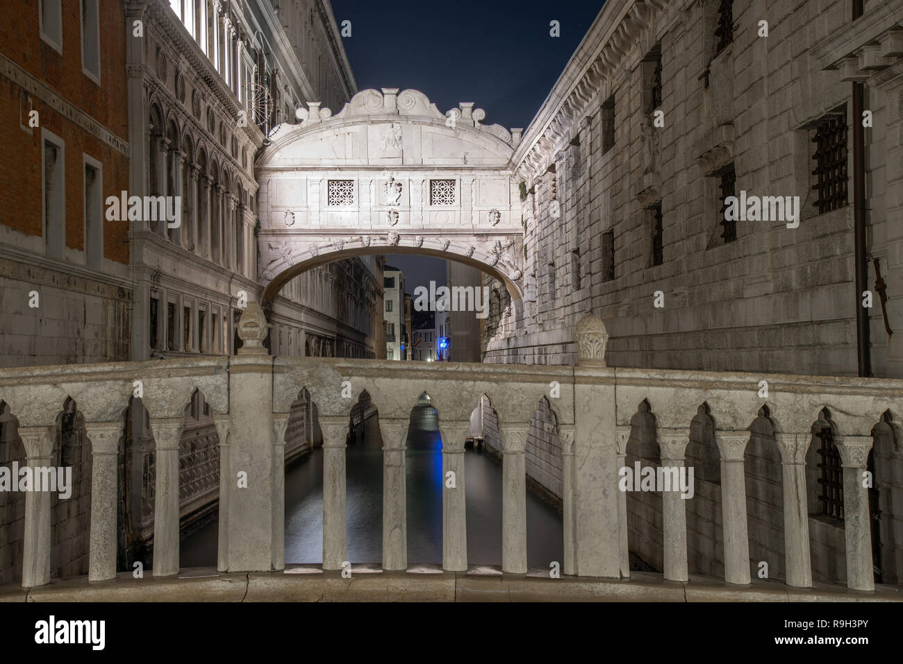 Night view of the Bridge of Sighs Venice, Italy. The view from the Bridge of Sighs was the last view of Venice that convicts saw before their imprison - Stock Image