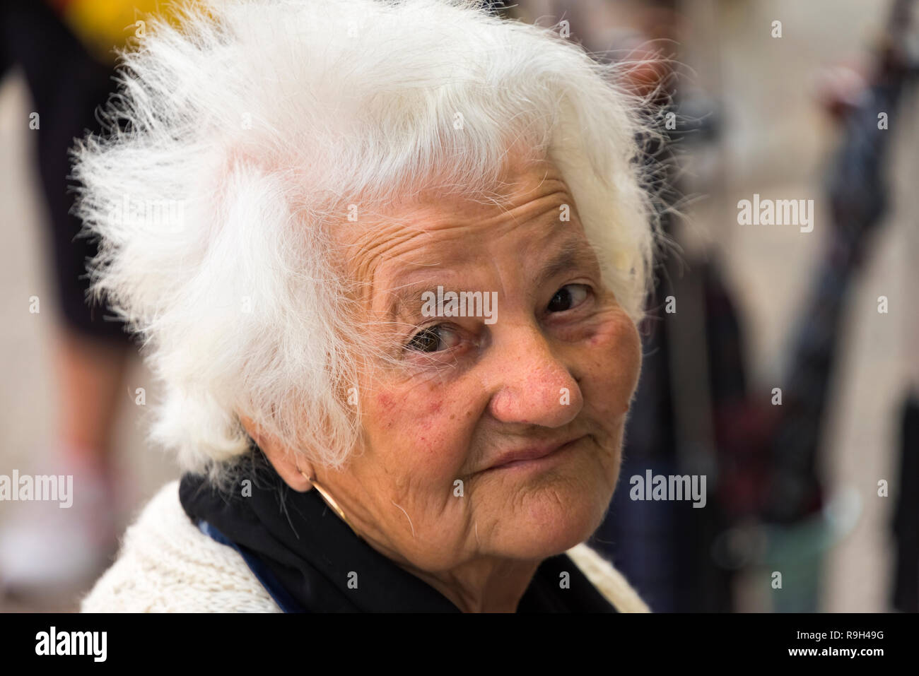 Old woman, Banja Luka, Bosnia and Herzegovina - Stock Image