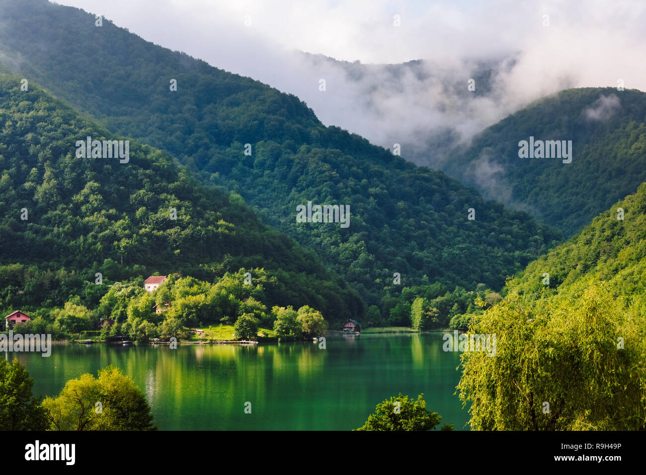 Landscape of Pilva River, Jajce, Bosnia and Herzegovina - Stock Image