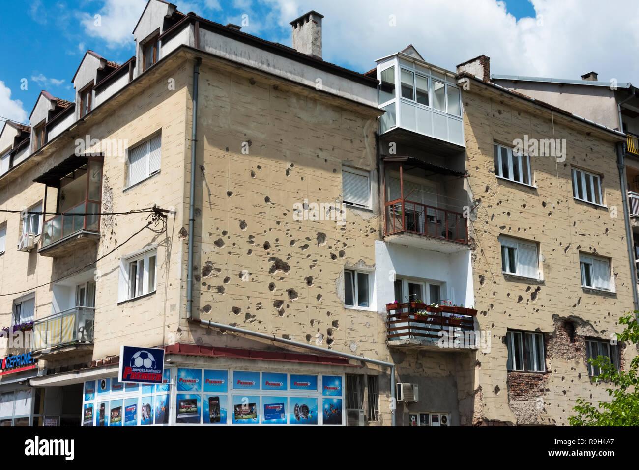 Bullet holes on wall, Konjic, Bosnia and Herzegovina - Stock Image