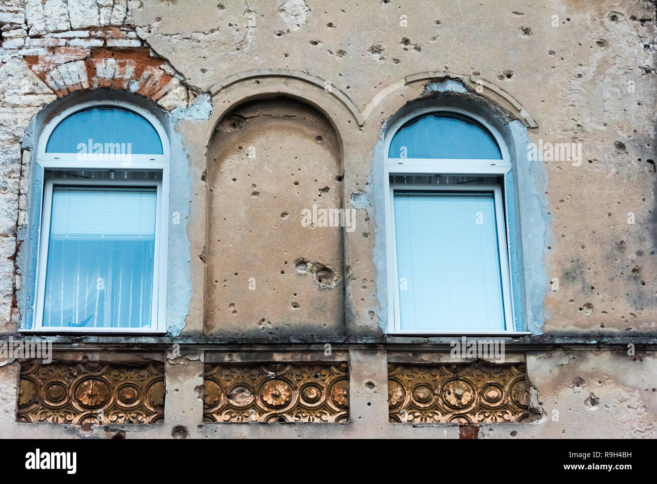 Old house with bullet holes, Mostar, Bosnia and Herzegovina Stock Photo