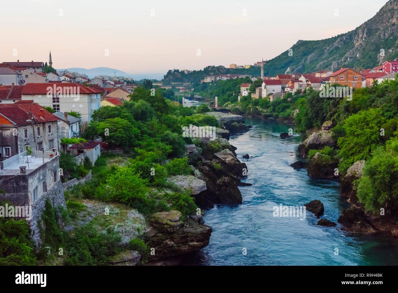 Houses along the Neretva River, Mostar, Bosnia and Herzegovina - Stock Image