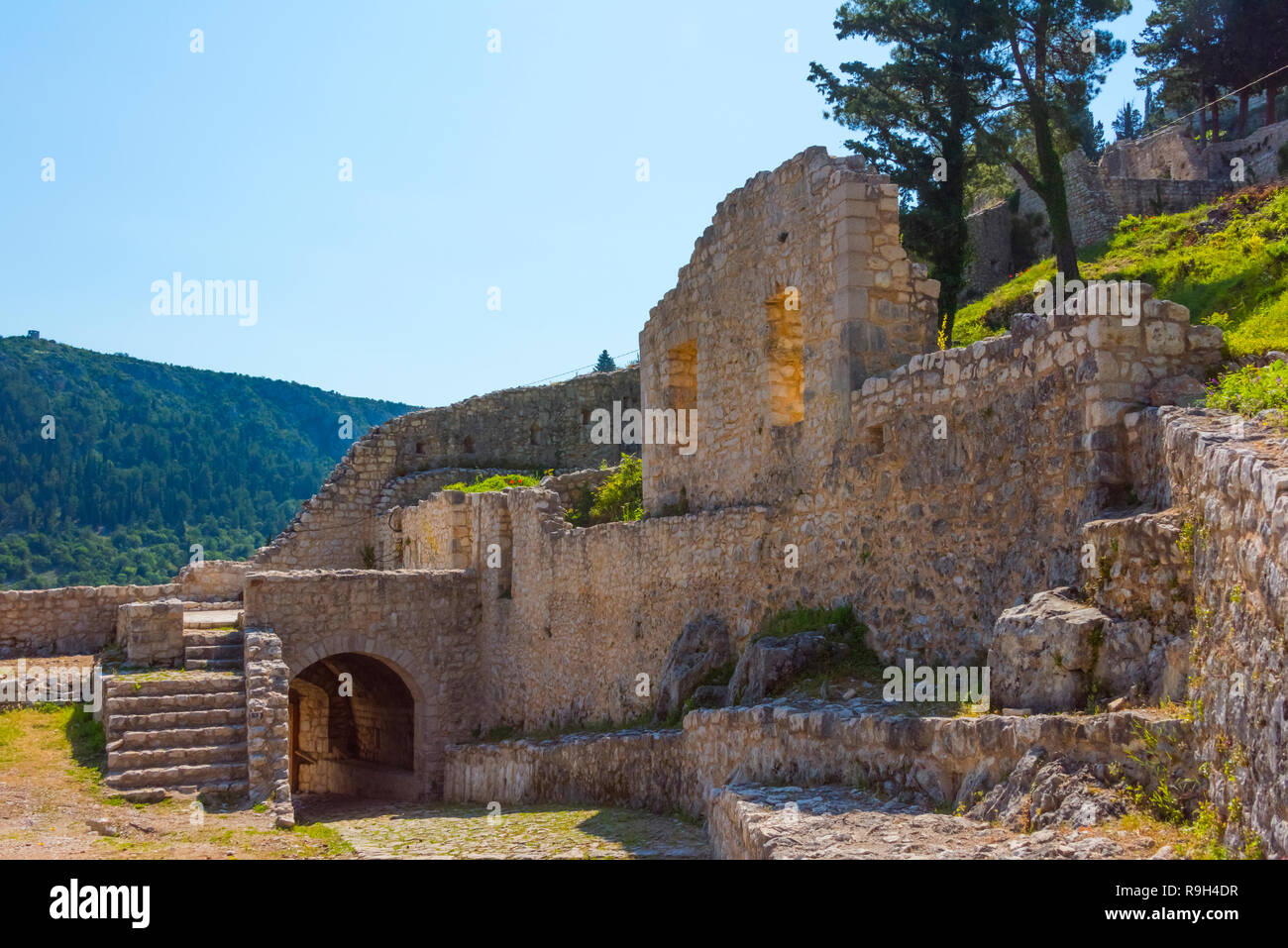 Old town of Vidoski above the modern city, Stolac, Bosnia and Herzegovina - Stock Image