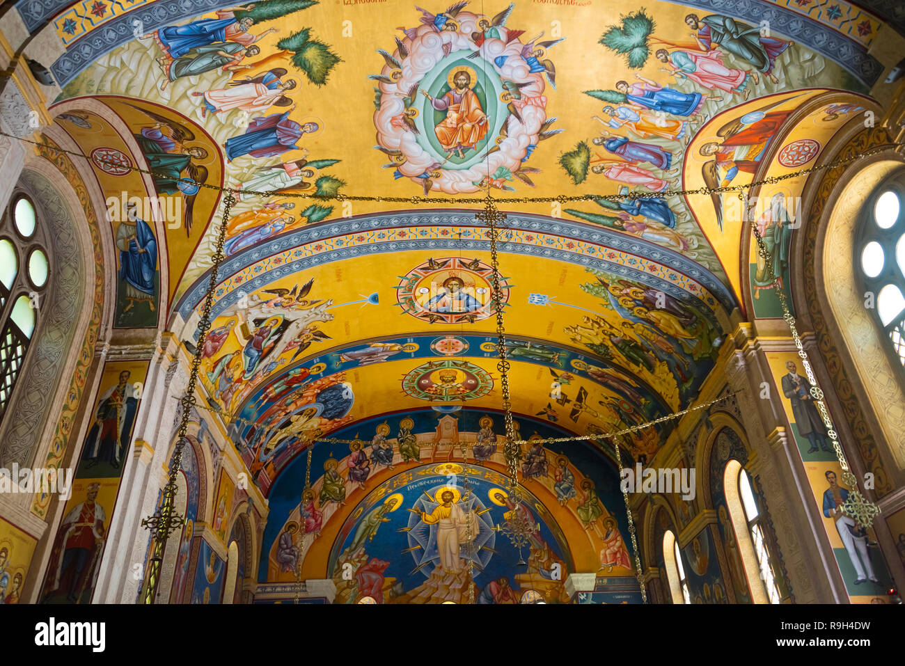 Interior of Cathedral Temple of Holy Transfiguration of Our Lord, Trebinje, Bosnia and Herzegovina - Stock Image