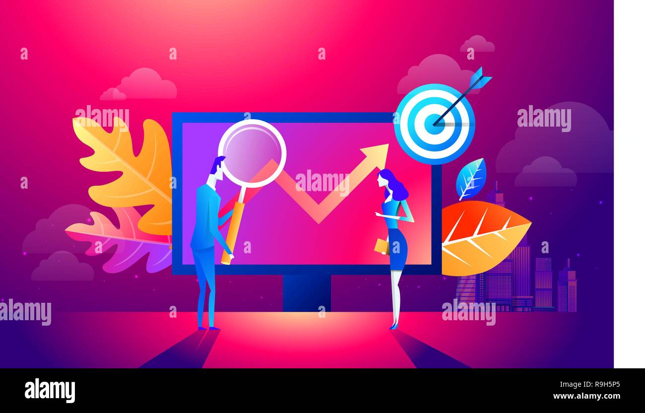 People team work together on seo. Can use for web banner, infographics, hero images. Flat isometric vector illustration isolated on purple and red background - Stock Image