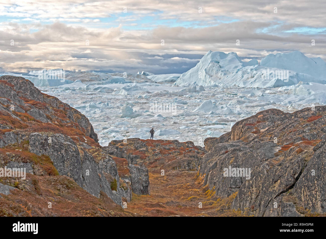 Looking at the Icefjord from Barren Rocks along the Icefjord of Ilulissat, Greenland - Stock Image