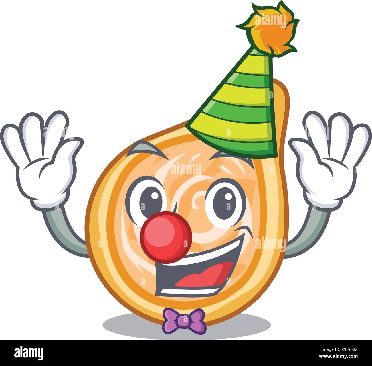 Clown chicken coxinha in shape a cartoon - Stock Vector