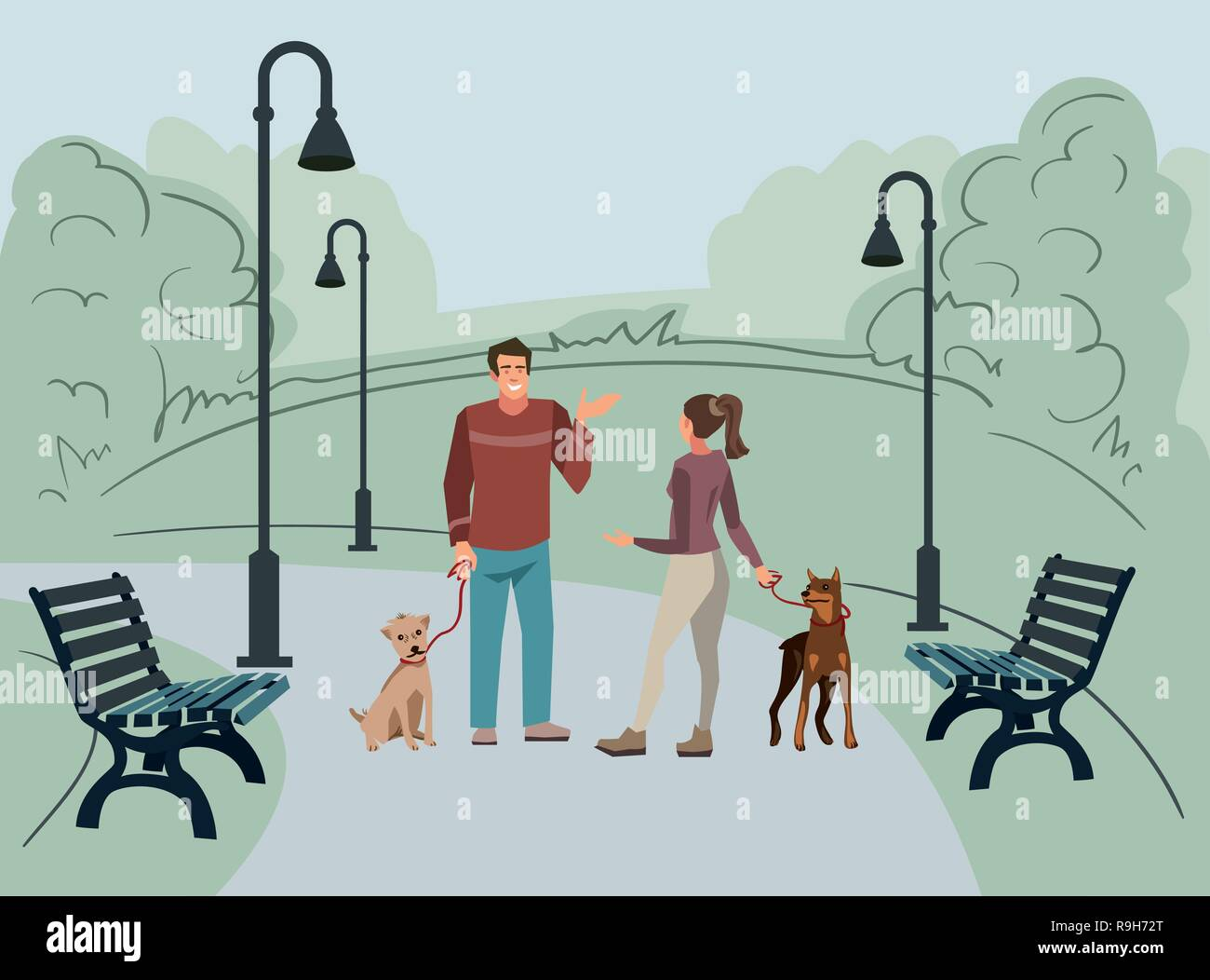 Young people, man and woman, walk in the park with their dogs in the morning. Vector illustration of people with pets in the street - Stock Vector