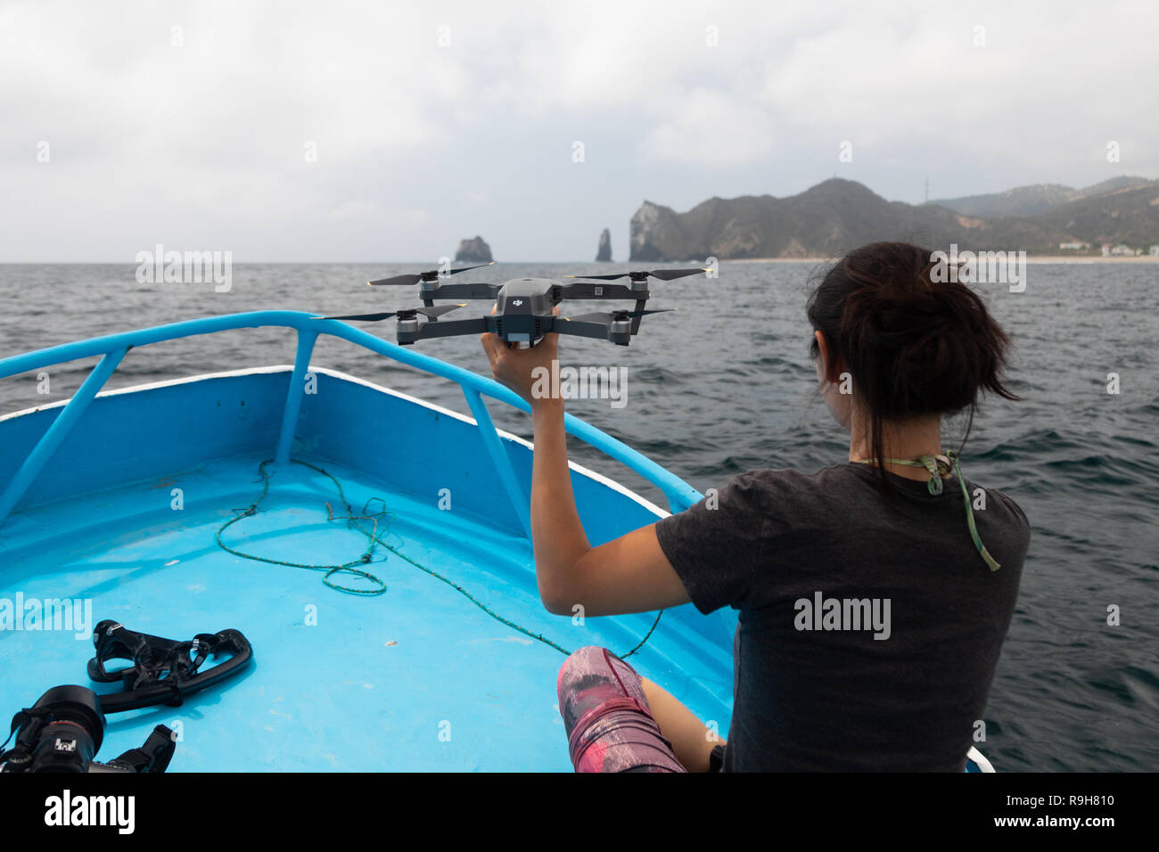 DJI Mavic Pro chasing chasing whales in Ecuador - Stock Image