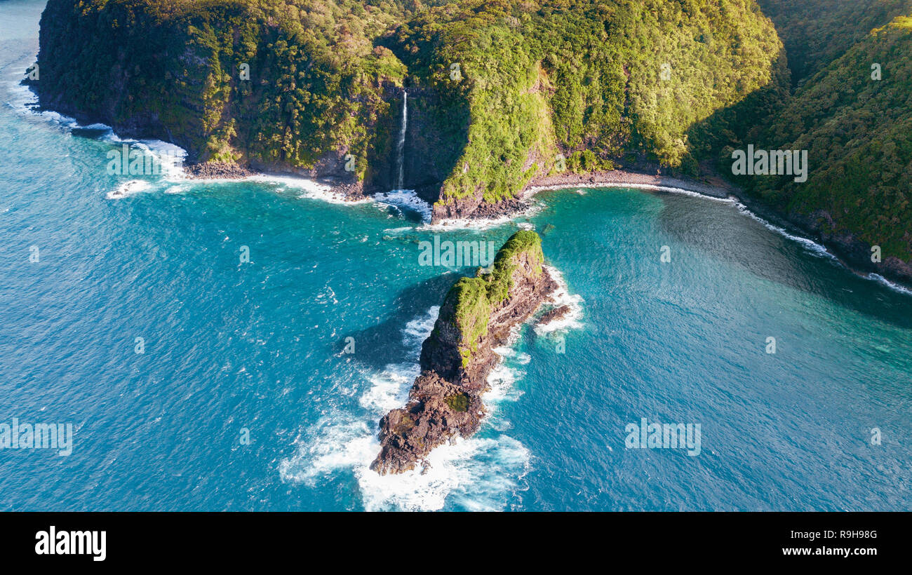 Jurassic Rock Hawaii aerial drone photography - Stock Image