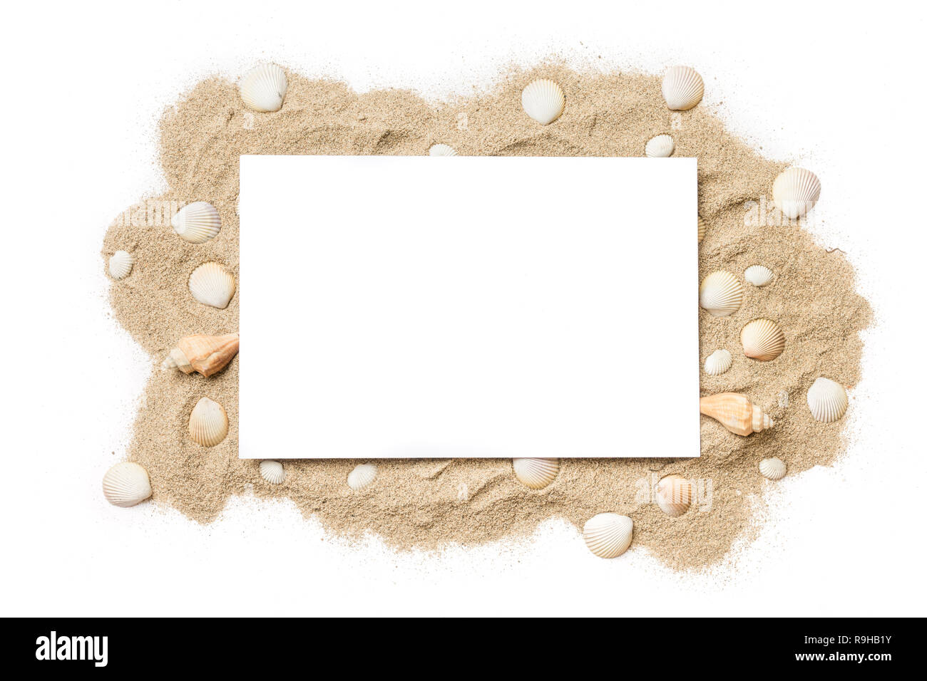 Summer sand and sea shells themed template design with copy space for text. - Stock Image