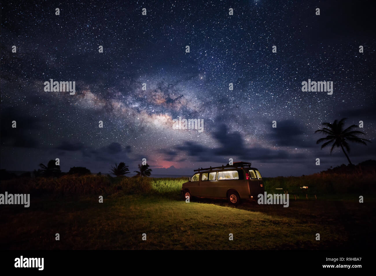 Milky Way photos road trip camper van Hawaii Stock Photo